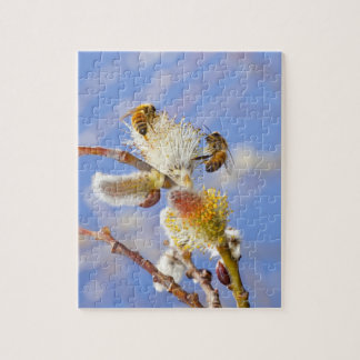 Two happy honey bees gathering nectar, jigsaw puzzle