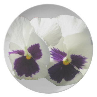 TWO HAPPY PANSIES PLATE