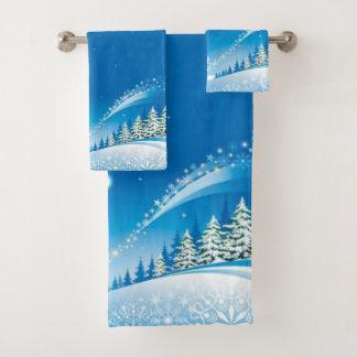 Two Happy Snowmen Bath Towel Set