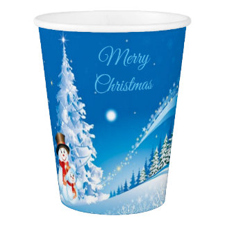Two Happy Snowmen Paper Cup