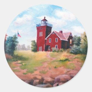 Two Harbors Light Round Sticker