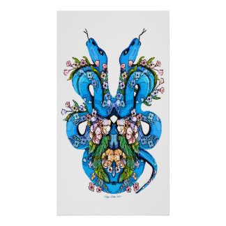 Two Headed Blue snake Poster Print