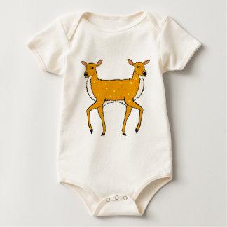 Two Headed Deer Vector Sketch Baby Bodysuit