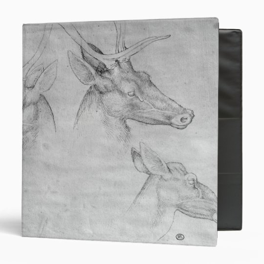Two heads of stags, one head of a doe 3 ring binder