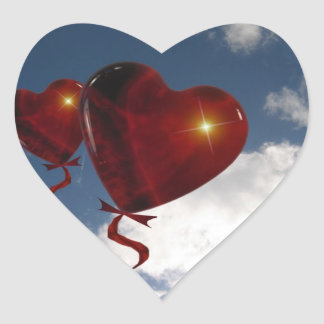 Two heart balloons in clouded sky heart sticker