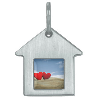 Two heart on the beach - 3D render Pet ID Tag