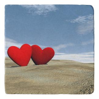 Two heart on the beach - 3D render Trivet