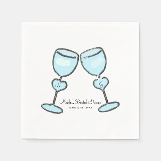 Two Heart Wine Glasses Bridal Shower Engagement Paper Napkins