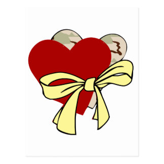 Two hearts and yellow ribbon postcard