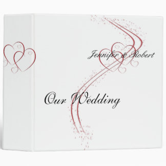 Two Hearts as One in Red and White Binders