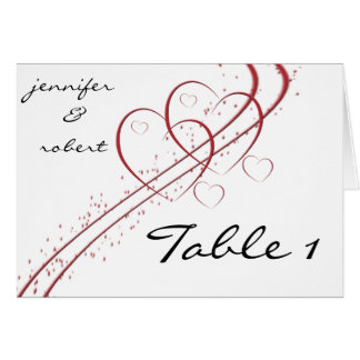 Two Hearts as One Table Number card