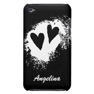 Two hearts black and white iPod touch case