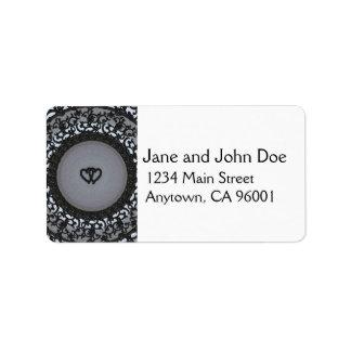 Two Hearts Black Sequin Look Label