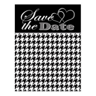 Two Hearts Black & White Houndstooth Save the Date Postcard