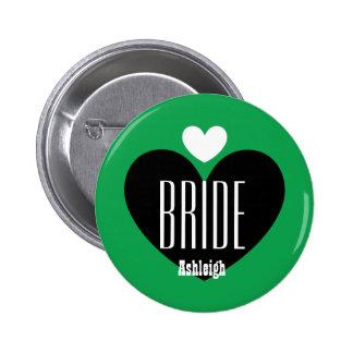 Two Hearts Bride Modern Wedding V04 GREEN Pinback Button