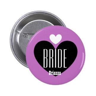 Two Hearts Bride Modern Wedding V07 PURPLE Button
