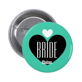 Two Hearts Bride Modern Wedding V09 TEAL Pins