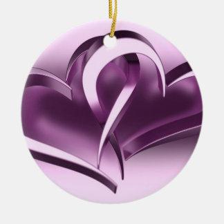 Two Hearts Ceramic Ornament