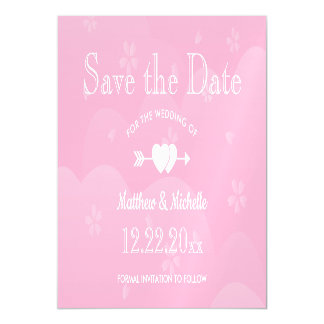 Two Hearts Cherry Blossoms Wedding Save The Date Magnetic Card