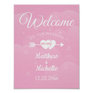 Two Hearts Cherry Blossoms Wedding Welcome Sign