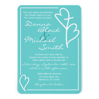 Two Hearts Cross Religious Wedding Invitations