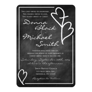Two Hearts Cross Religious Wedding Invitations