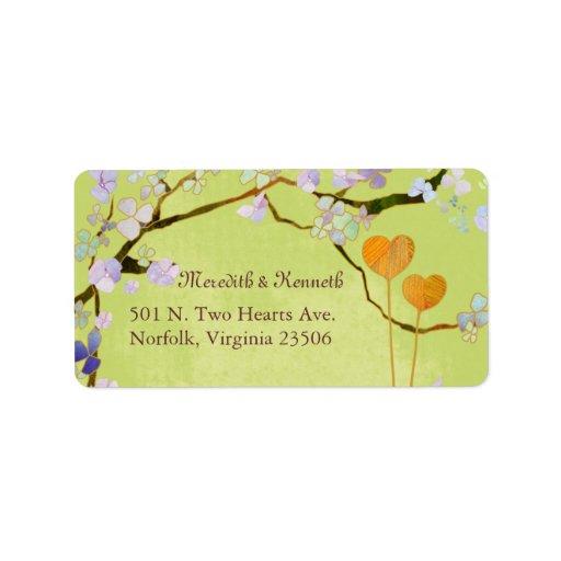 Two Hearts Cute Wedding Return Address Labels