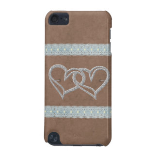 Two Hearts Dainty Lace Pattern Speck iPod Case