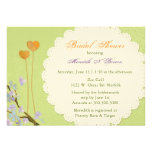 Two Hearts Green Summer Floral Bridal Shower Personalized Announcements