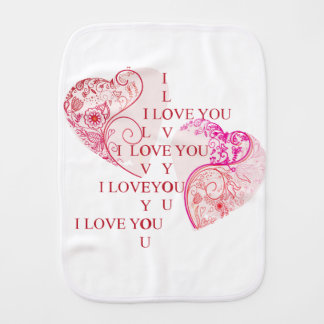 Two Hearts - I Love You Baby Burp Cloths