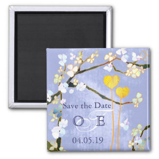 Two Hearts in Blue Monogram Save the Date Square Magnet