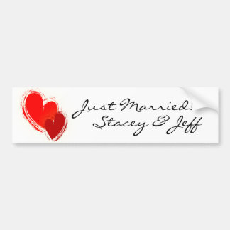 Two hearts in love bumper sticker
