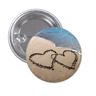 Two Hearts In The Sand 1 Inch Round Button