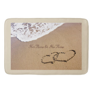 Two Hearts In The Sand Bath Mat