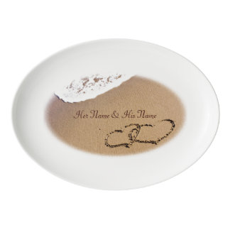 Two Hearts In The Sand Porcelain Serving Platter