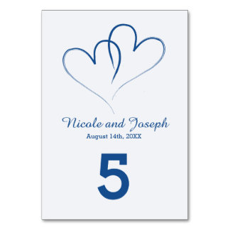 Two Hearts intertwined Table Number -Nautical Blue