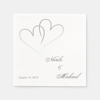 Two hearts intertwined Wedding Paper Napkins.