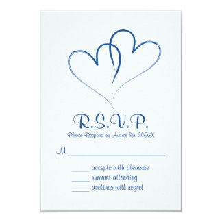 Two hearts intertwined Wedding RSVP Card