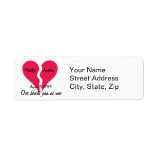 Two Hearts Join as One Name Personalized Return Address Label