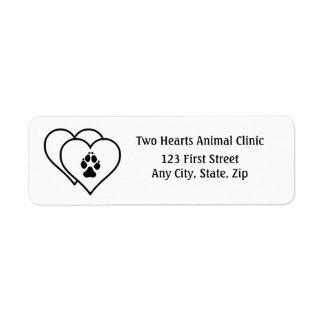 Two Hearts Love Animals Logo Address label