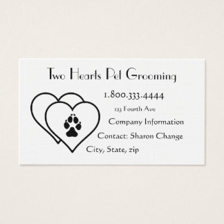 Two Hearts Love Animals Pet Grooming Custom Business Card