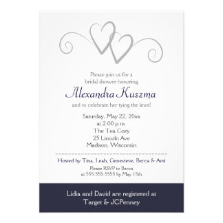 Two Hearts Navy Silver Bridal Shower Invitation