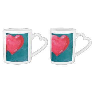 Two Hearts Nesting Mugs LOVE Lovers Mug Sets