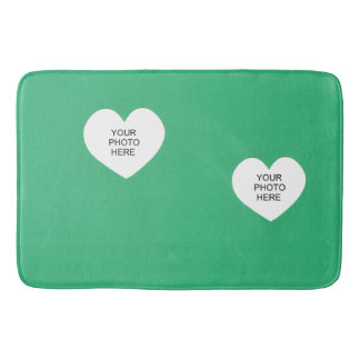 Two Hearts on Green Add Your Photos Bathroom Mat