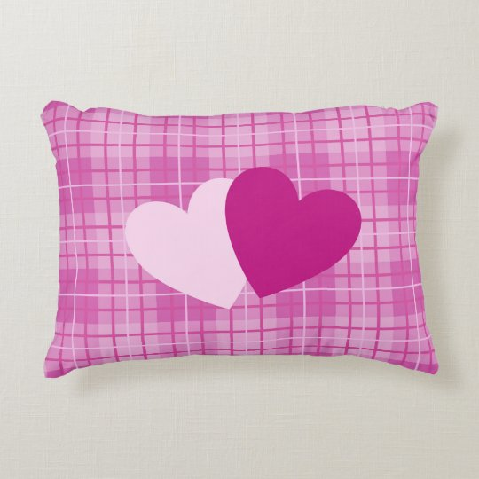 Two Hearts on Plaid Pinks Accent Pillow