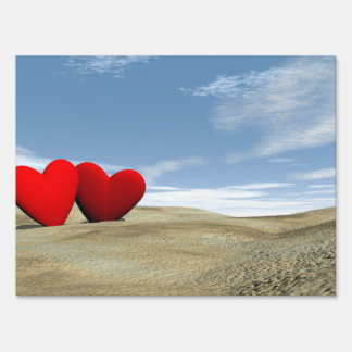 Two hearts on the beach - 3D render Sign