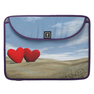Two hearts on the beach - 3D render Sleeves For MacBook Pro