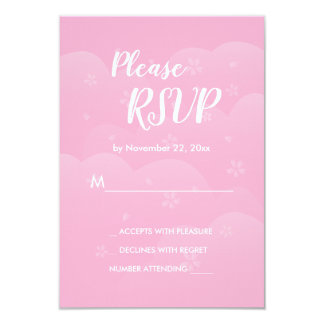 Two Hearts One Love Cherry Blossom Wedding RSVP Card