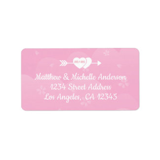 Two Hearts One Love Pink Cherry Blossoms Address Label