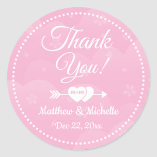 Two Hearts Pink Cherry Blossoms Wedding Thank You Classic Round Sticker